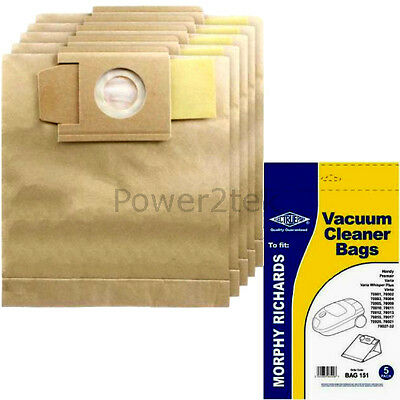 73 5 x Replacement Vacuum Cleaner Bags For Morphy Richards Compact 73142 Type