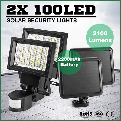PAIR 100 LED Solar Sensor Light Security FLOOD Lamp Motion Detection Garden Yard