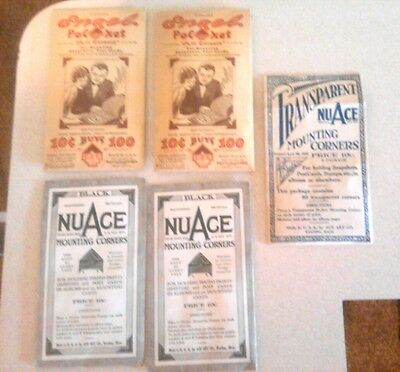 Vtg Lot 5 Pack NuAce Engel Unopened & Partial Photo Mounting Corners Black Clear