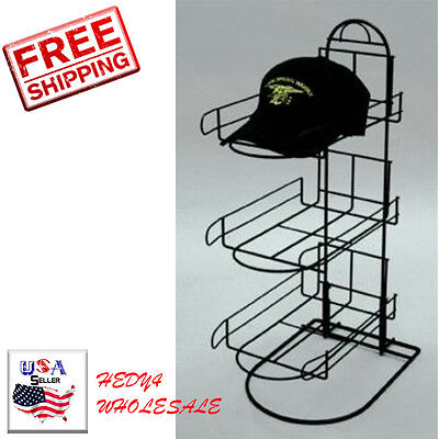 """New 3 Tier Wire Baseball Cap Counter Display Rack Holds 8-10 Hats Per Row 24""""H"""