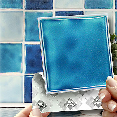 18 Stick and Go Stickers Blue Splashback Wall Tiles For Kitchen or Bathroom
