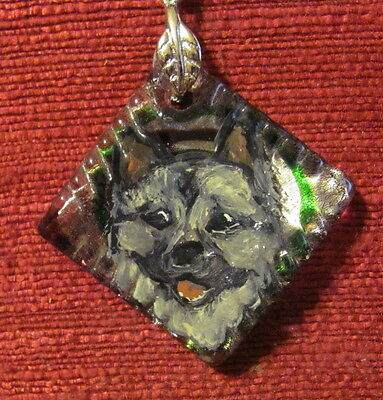 Norwegian Elkhound hand painted on square glass pendant/bead/necklace