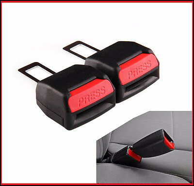 2 x Seat Safety Belt Buckle Adapter Extender Alarm Beep Stopper Canceller Black