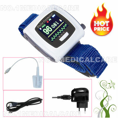 FDA CE CMS50F Wrist Finger Pulse Oximeter Daily Night Real time Transmitor PC SW