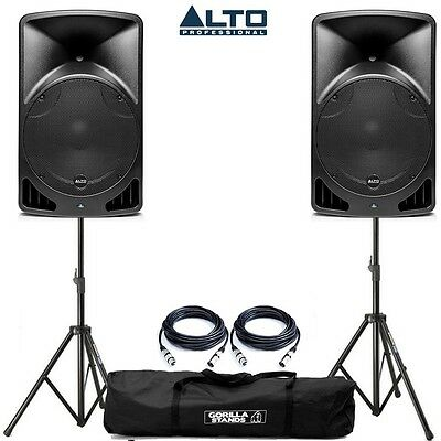 "2x Alto TX15 15"" 2-Way 600W Class D Active Speakers with Gorilla Stands & Cables"