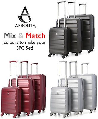 Aerolite Mix & Match 3-Piece Hard Shell 4 Wheel Spinner Suitcase Luggage Sets