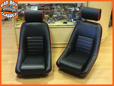 Pair BB1 RS Classic Black / Red Piping Sports Racing Bucket Seats UNIVERSAL