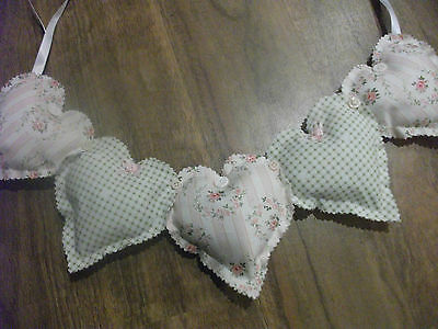 Handmade hanging hearts swag - shabby chic- hearts,ribbons,buttons & roses