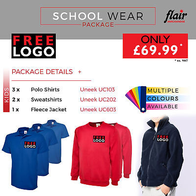 Embroidered Printed SCHOOL WEAR PACKAGE PERSONALIZED POLO  SWEATER FLEECE JACKET