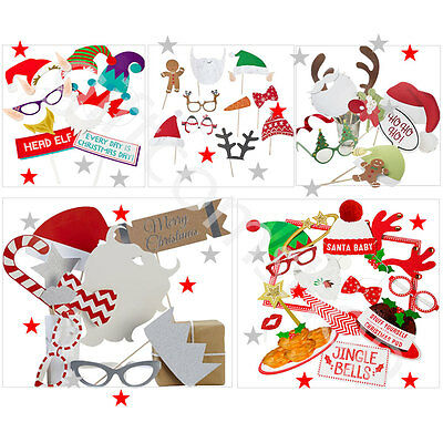Christmas Photo Booth Elfie Selfie Photo Disguises Props & Frame Xmas Party Game