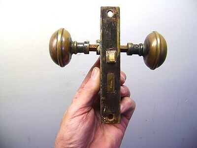 Vintage Antique COPPER DOORKNOB SET w/Lock No Keys Architectural Salvage Nice!
