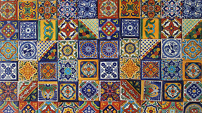 "Mexican Talavera Tiles 2 X 2"" Folk Art Assorted 100 Pcs"