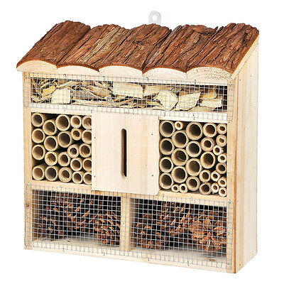 Bee House Insect Hotel Fir Wood Bamboo And Fir Cones Size: 30 x 9.5 x 30 cm