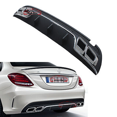 AMG C63 Style Rear Bumper Lip Diffuser Muffler Exhaust Tip for Benz W205 Sport