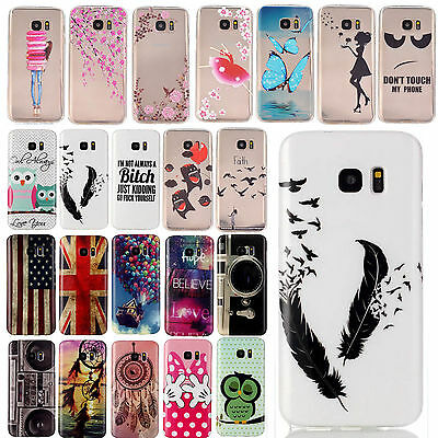 Slim Rubber Soft TPU Silicone Pattern Back Case Cover For Samsung Galaxy Phone