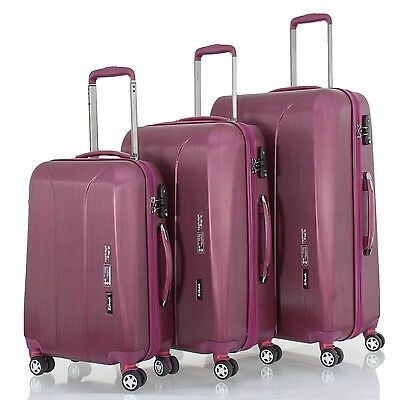 march15 - New Carat burgund/rot TSA Trolleyset 3tlg. Reisekofferset Hartschale