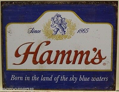 HAMM'S Beer metal sign logo since 1897 born in the land of sky blue waters 2078