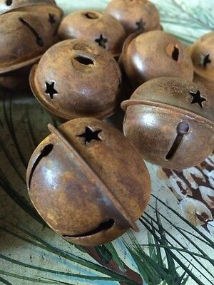"""(SET OF 12) JINGLE BELLS 1.5"""" 1 1/2 in Primitive Rusty Tin 38mm Christmas Crafts"""