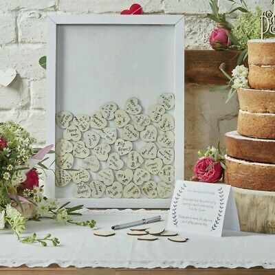 Wedding Guest Book Alternative Drop Top Box Wooden Frame 70x Heart Keepsake Gift