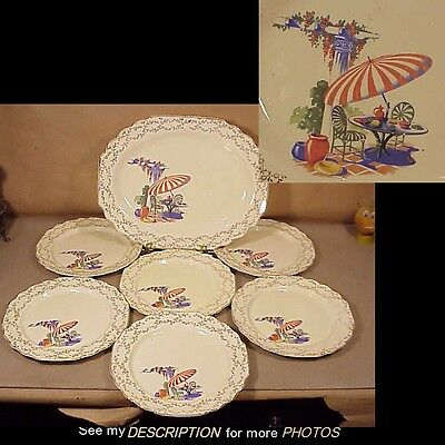 WS George Lido Canarytone 7pc Luncheon Set Beach Umbrella Sunporch Pattern