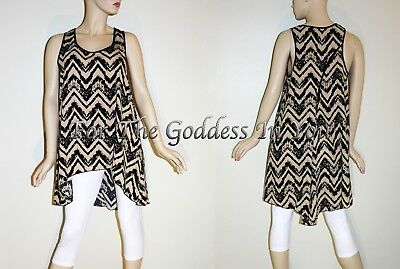 a926be392a H101 Mocha Tan Black Chevron Hi Lo Hem Long Tank Top Womens Plus Sz 1X 2X