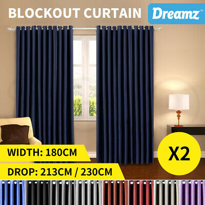 DreamZ Blockout Curtain Blackout Curtains Eyelet Room Darkening Pure Fabric Pair