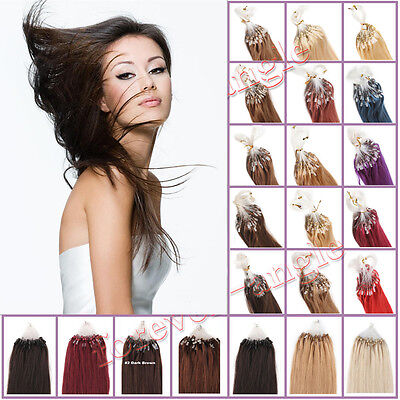 """Micro Ring Easy Loop Bead Tip Indian Remy Human Hair Extensions 16""""-26"""" 100S 50S"""