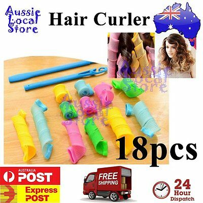 18 pcs Magic Leverag Hair Curler Curlers Formers Spiral Styling Rollers DIY Tool