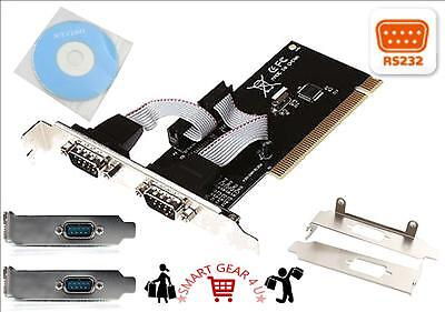 PCI SERIAL RS-232 RS232 2 PORT 9 Pin DB9 Card Adapter Low Profile Bracket Win 8
