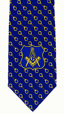 MASONIC TIE - POLICE - on POLY FABRIC - ROYAL w/HAND CUFF PATTERN - NEW
