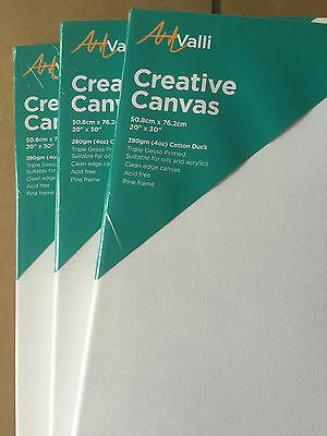 "3 Artist Canvas Stretched Blank Canvas 20""X30""/50CM x76CM Wholesale Arts Craft"