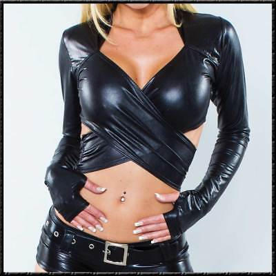 Bolero-Top Langarm Heiss SexY WETLOOK GLÄNZEND SCHWARZ Jacke Top black