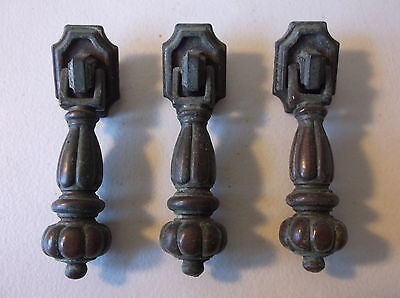Vintage-(3) Brass Finish Drawer Pulls / Knobs--Dropper Style- W/original Screws