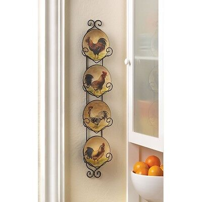 Ceramic Rooster Plate  Wall Decor Iron Plate Holder With 4 In Plates Earthtones