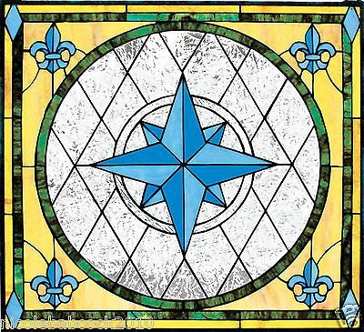European Style Fleur De Lis Stained Glass Window Compass Symbol Of The Ocean