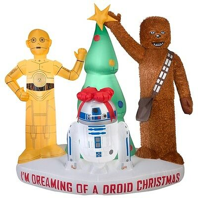 6' Star Wars Droids & Chewbacca Christmas Airblown Inflatable - Yard Decor Gemmy