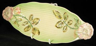 Shorter & Son Hand Painted Embossed Green/Pink Flower Long Dish 1940-64