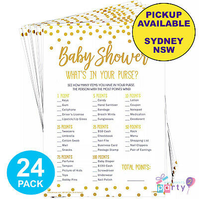 Baby Shower Party Supplies 24 Sheets What's In Your Purse Handbag Bag Fun Game