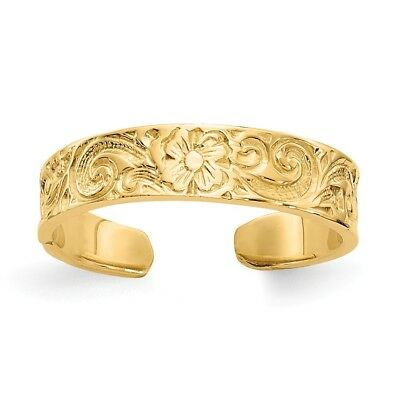 14k Yellow Gold Flower Adjustable Toe Ring With Scroll Accents  1.70 gr