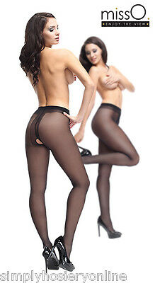 1 Miss O Open Gusset Crotchless Gloss Tights 40 Denier Sheer Pantyhose p102