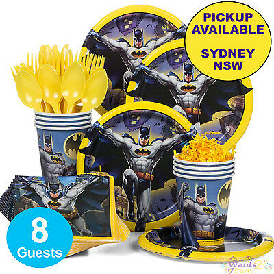 Batman Birthday Party Supplies Basic Pack 8 Guest Plates Cups Napkins Cutlery