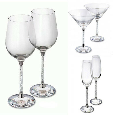 New Pair of Cocktail Champagne Wine Glasses with Crystal Filled Stem Wedding