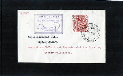 1951 Australia-Chile First Experimental Flight Cover, Good Condition, 5/ Arms