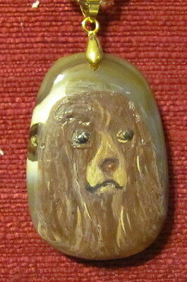 Sussex Spaniel hand painted on an oblong Agate pendant/bead/necklace