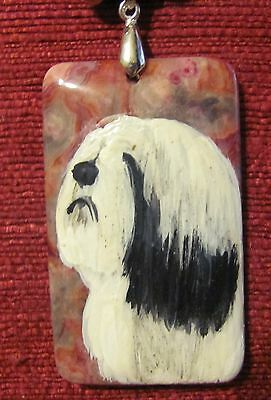 Tibetan Terrier hand painted on a large rectangular Crazy Lace Agate pendant/bea