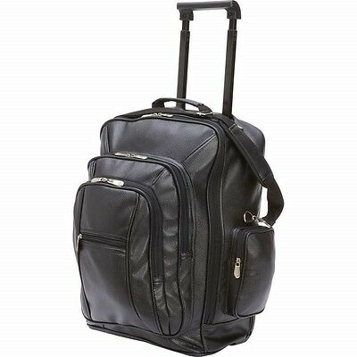 """19"""" Black Vegan Leather ROLLING BACKPACK Trolley Wheeled Bag Carry On Luggage"""