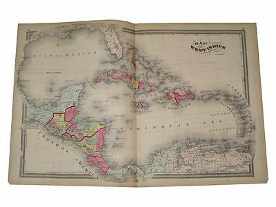 Map of West Indies Guatemala Belize 1872 H.H. Lloyd Guernsey Hand Color Colored