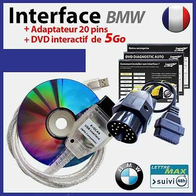 BMW EDIABAS/INPA KDCAN interface + adaptateur 20 pins + DVD INTERACTIF de 5 Go