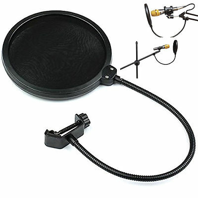Dual Layer Record Studio Microphone Mic Windscreen Pop Filter Mask Shield Black