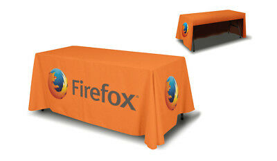 6' Ft Table Cover Trade Event Show Custom Printed Full Color 3 Sided